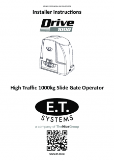 DRIVE 1000 slide gate operator (Installer Instructions)