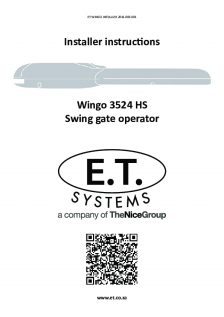 ET Wingo swing gate operator (Installer Instructions)