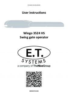 ET Wingo swing gate operator(User Instructions)