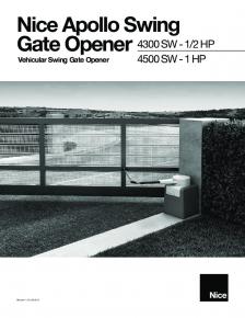 Apollo Swing Gate Opener 4300 SW - 1/2 HP, 4500 SW - 1 HP