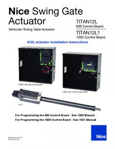 Nice TITAN12L / TITAN12L1 Swing Gate Actuator