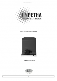Umpetha slide gate operator (Installer Instructions)